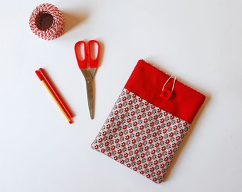 red iPad cover – red fabric iPad sleeve -  red patterned tablet case