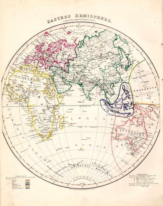 Eastern Hemisphere Map With Names Items similar t...