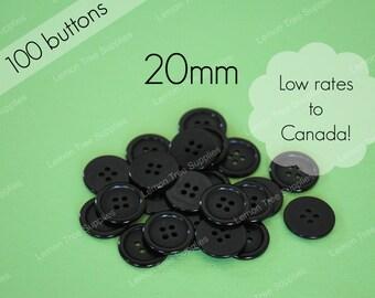 Black buttons, plastic buttons, bulk buttons, black buttons 20mm - pack of 100