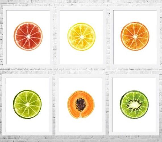Https Www Etsy Com Listing 233640928 Citrus Kitchen Art Fruits Prints Fruit