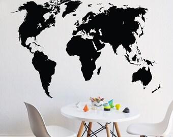 World  -  CHALKBOARD - WALL DECAL - chalkboard wall decal - removable chalkboard wall decal