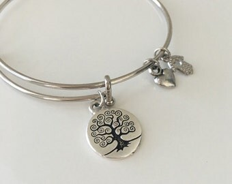 Silver bangle charm bracelet - Tree of Life