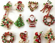 NEW Set of 12 vintage inspried christmas brooch lot/ (silver or gold) holiday brooch / christmas tree/ snowman/ xmas pin lot / party favor/