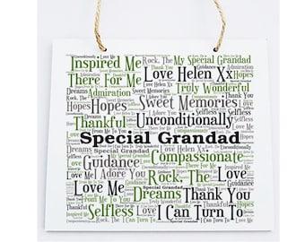 Personalised Grandfather Word Art Plaque -  Special Grandad.