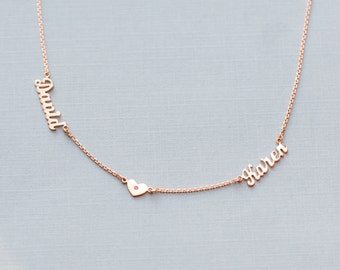 Personalized Rose Gold Plated Couple Name Plate Necklace - Linked w/ Heart .925