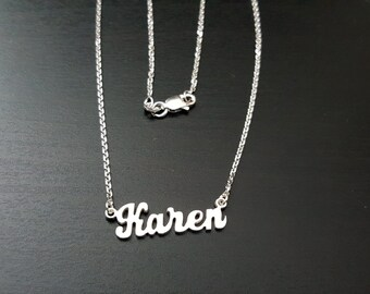Personalized Sterling Silver Small Name Necklace for Kids & Ladies .925