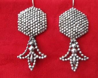 Antique 2 1/2-Inch Cut-Steel Earrings