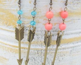 Antique Brass Arrow Dangle Earrings