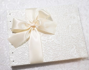 White Wedding Guest Book, White and Ivory, Baby Shower Book, Retirement Guest Book, Bridal Party Book, Coptic Stitch, MADE TO ORDER