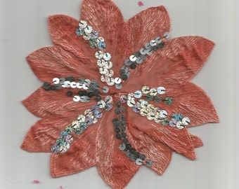 Burnt Orange Silver Sequins Large Fabric  Flower Embroidered Patch Sew On Applique  6047