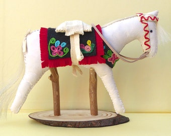 Native American Indian style horse tack pony doll model sculpture primitive folk art floral pattern country rustic leather cowgirl western