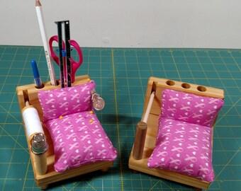 Sewing Caddy - Pink Ribbon Fabric