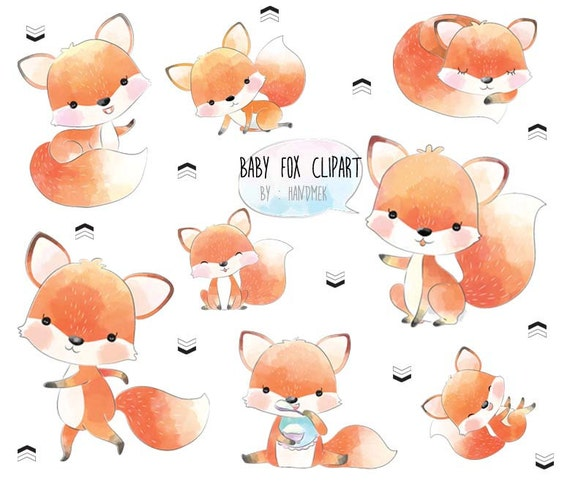 Baby fox cute fox clip art instant download PNG file 300