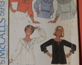 McCall's 5913 Peasant blouse pattern Size 12