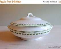 Half Price Sale Antique tureen, Boch tureen, tureen with green leaves border, green transferware bowl, vintage dish with lid