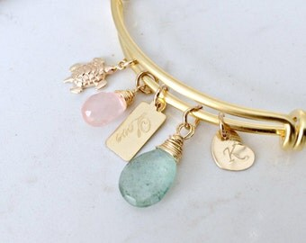moss aquamarine bangle turtle bangle personalized heart bangle rose quartz initial engraved love tag 14k gold beach wedding bridesmaid gifts