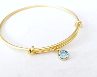 Aquamarine Bangle Birthstone Bangle March Birthstone Personalized bangle Swarovski Birthstone Adjustable bangle wedding bridesmaid gifts