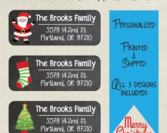 Christmas Address Labels- Ho Ho Ho Xmas Set- Sets of 30