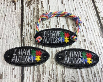 I Have Autism - Puzzle Pieces -  ITH - Bracelet Tab - DIGITAL Embroidery DESIGN