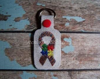 Autism Awareness - Puzzle Pieces -  Awareness Ribbon - Key Fob Design - DIGITAL EMBROIDERY Design