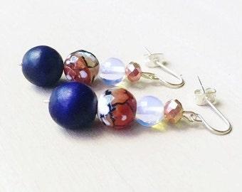 Navy Agate Earrings//Sea Opal Earrings//Agate Beaded Earrings//Navy Beaded Earrings
