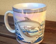 Dolphin Iridescent Mug, Vintage Opalescent Mug, Vintage Dolphin Coffee Mug, Color Shifting Mug, Mandalay Beach Mug