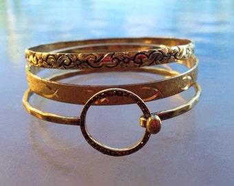 Bangle Bracelets Goldtone, Set of Three Bandle Bracelets, Gold Bangle Bracelet, Stacking Bangle Bracelets, Vintage Bangle bracelets