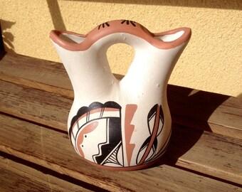 Tribal Pottery Wedding Vase, Navajo Wedding Native American Vase, Tribal Pot Vessel, Tribal Art, Southwestern Pottery Dual Vase, Navajo Pot