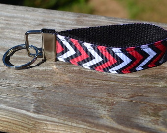 SALE! Chevron-Red, Black, and White Keychain