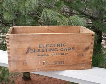 Antique Atlas Wood Explosives Crate Finger Jointed Wood Box