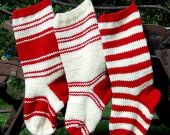 Hand Knit Personalized Christmas Stocking , Knitted Chunky Striped Christmas Stocking, Santa Socks, Christmas Gift