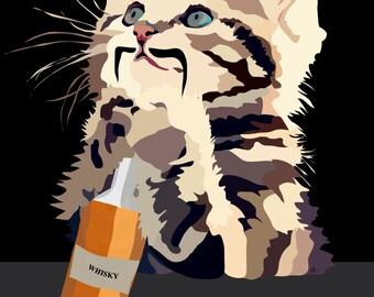 Scottish Moustache Cat loves Whisky Digital Art Print....