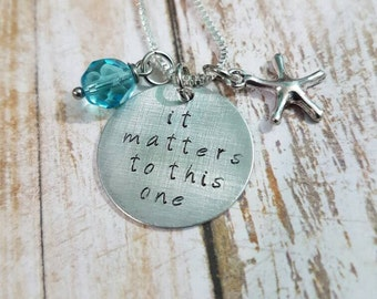It matters to this one hand stamped necklace with czech glass bead and starfish charm