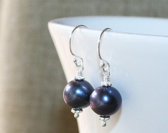 Genuine Freshwater Pearl Hook Earrings, Black Pearl Drop Earrings, Sterling Silver, June Birthstone, Black Pearl Dangle Earrings