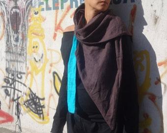 Linen Umbra Scarf, Asimetric  Linen Loop scarf, Unique  Accessory,Infinity linen scarf, Brown Linen, Earty Colour Scarf