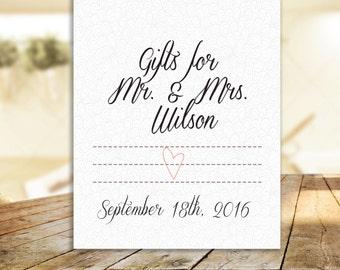 Wedding Damask Heart Gifts Sign