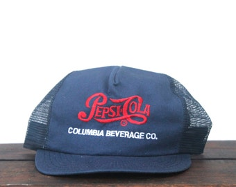 Vintage Pepsi Cola Columbia Beverage Co Old Script Logo Soda Pop Drink Trucker Hat Snapback Baseball Cap