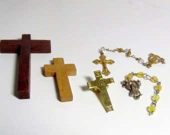 Group of vintage wood and metal crosses, crucifix, religious medals, tac pin.   Some pendants. as shown.