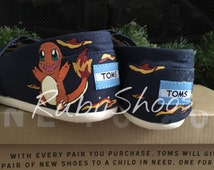 Women's Toms-Navy- Heel Design-Starter Pokemon-Pokemon Go-Charmander-Pokemon Master-Pokemon Shoes-Fire Type-Gotta Catch Em All-Painted Toms
