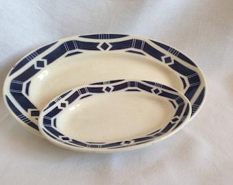 2 oval ceramic dishes / Art Deco / Badonviller
