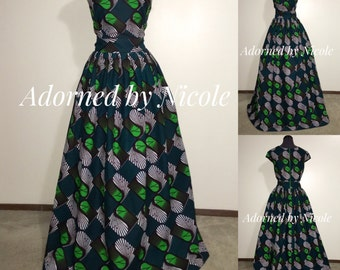 African Print Maxi Dress: Emerald Green Black White Long Dress with Cap Sleeves and Pockets