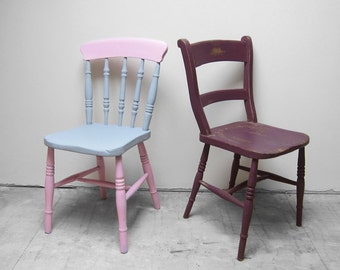 Vintage Farmhouse Chairs Painted Pink Purple Grey Seats