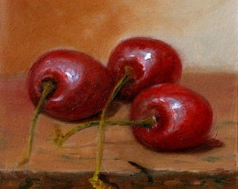 Oil On Panel - 'Cherries' Still Life Daily Painting Original Art