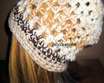 Adult Hat, Chunky Mesh Hat, Slouchy Hat, brown and cream hat, slouch hat, crochet slouchy hat, slouch hat, crochet slouch hat, chunky slouch
