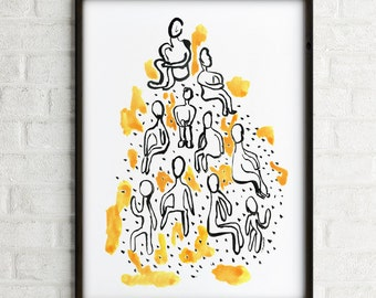 Thinkers watercolor painting, Black and white wall art print, Ink illustration, Modern wall art, Living room art, Abstract Buy 2 get 1 free