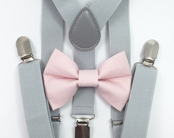 FREE DOMESTIC SHIPPING! Light gray suspenders and light pink bow tie set baby boys boy family photoshoot wedding formal ring bearer