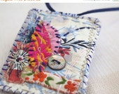 On sale Upcycled textile art necklace, Hand swen garden floral statement pendant, Eco vegan fabric necklace