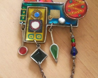 Abstract Stained Glass Brooch