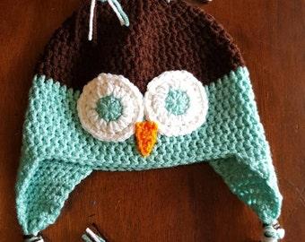 Super cute owl hats (brown/Aruba sea), owl earflap hat, winter hat