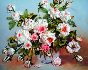 Silkribbonembroidery Rozy.3d Picture embroidery